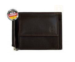 RFID Geldbörse / Dollarclip Luca Chocolate Brown Nappa